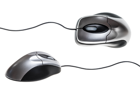 Black, silver colored wire computer mouse top and side view isolated on white background