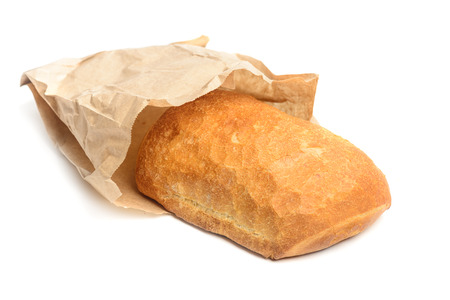 Ciabatta bread wrapped in paper. Crusty white whreat bread italian cuisine. Isolated on white background.