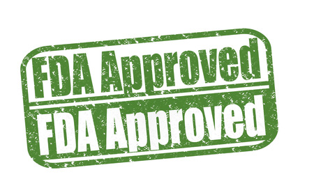 Rubber Stamp FDA Approved, (Food and Drug Administration) text on white illustration