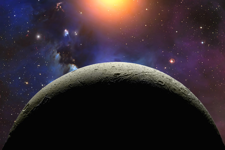 Rocky moon in outer space with star field and nebula. Futuristic universe landscape