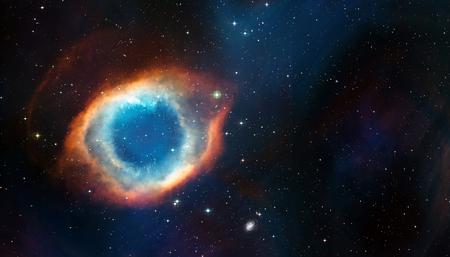 Kosmischer Hintergrund des Weltraums von Supernovanebel und Sternenfeld mit Exemplar