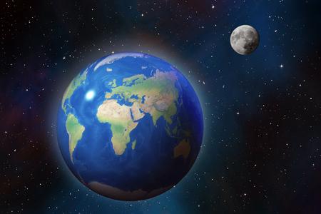 Hochdetaillierte Erde und Mond über Sternenfeld im Weltraum, kosmischer Hintergrund