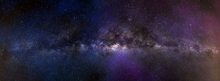 Milky way galaxy panorama. Universe space landscape of stars field on a night sky 写真素材