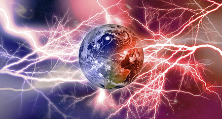 Llightning strikes on Earth, fire and ice, North and South magnetic poles  storms space background. Planet texture for 3d Render Stock Photo