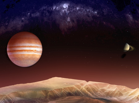 Landscape in the mountains of Mars with a view of Jupiter and Saturn among the Milky Way. Textures for 3D render planet surfaces