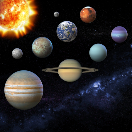 Solar system planet, sun and star. Sun, Mercury, Venus, planet Eearth, Mars, Jupiter, Saturn, Uranus, Neptune, Moon, Milky way. Science and education background 3D Illustration.