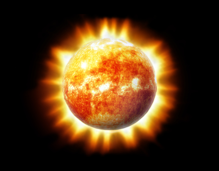 The Sun in Space 3D Illustration.
