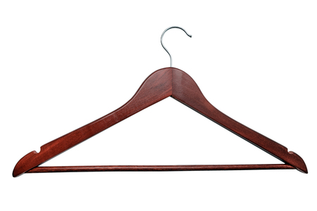 Wooden hanger isolated on white background with clipping path