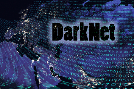 Binary code on Earth, Europe. Darknet concept black hole 3D illustration