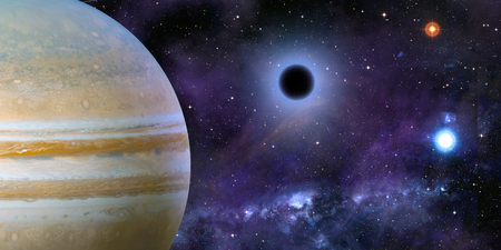 Space cosmic landscape of planet near black hole, nebula and stars field with copyspace Imagens