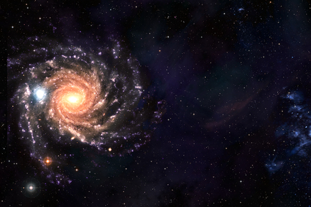 Space background of spiral galaxy nebula and stars field with copyspace