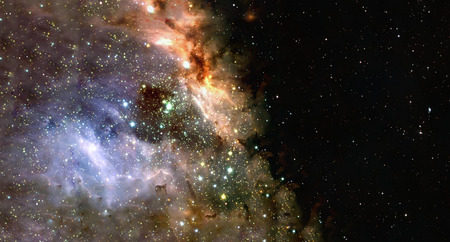 Space background of nebula and stars field with copyspace