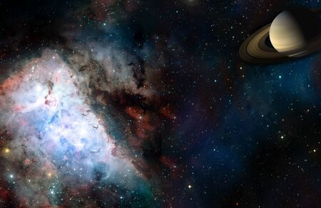 Space cosmic landscape of planet nebula and stars field with copyspace