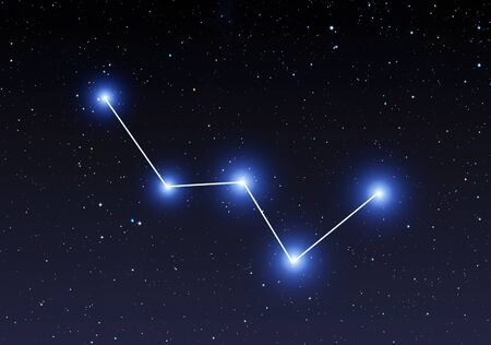 Cassiopeia constellation on the starry sky
