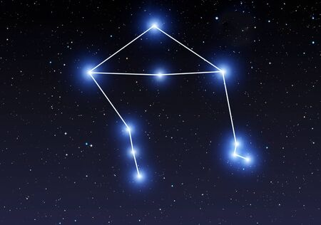 Libra constellation on the starry sky Stock Photo