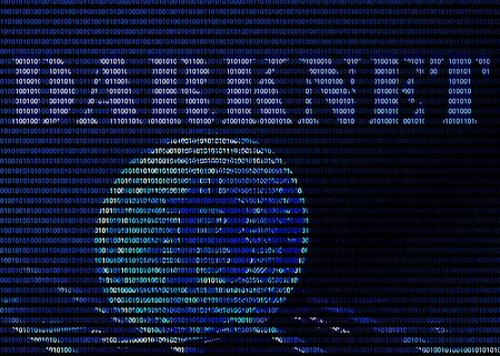 Bitcoin and word darknet on blue binary background
