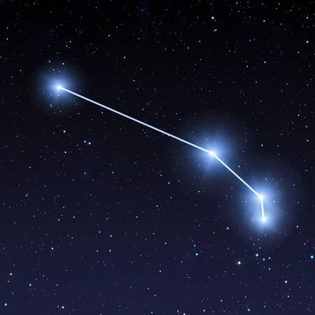 Aries constellation in night sky with bright blue stars