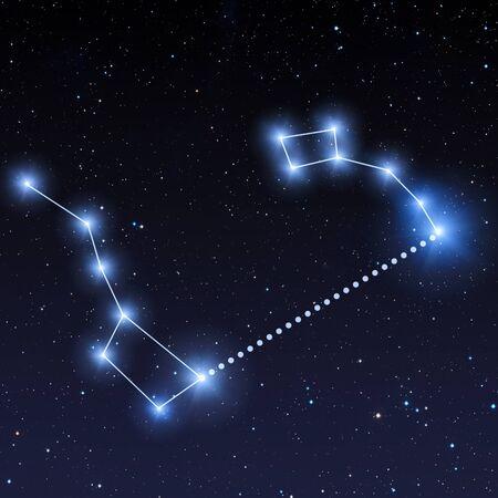 Constellation de la Grande Ourse et de la Petite Ourse dans le ciel nocturne avec des étoiles bleu vif. Comment trouver Polaris Banque d'images