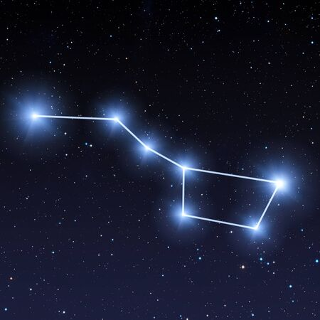 Big dipper constellation in night sky with bright blue stars