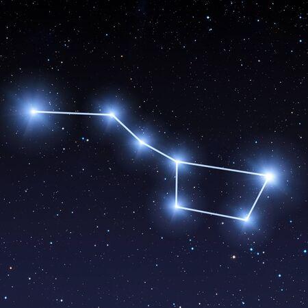 Constellation de la Grande Ourse dans le ciel nocturne avec des étoiles bleues lumineuses