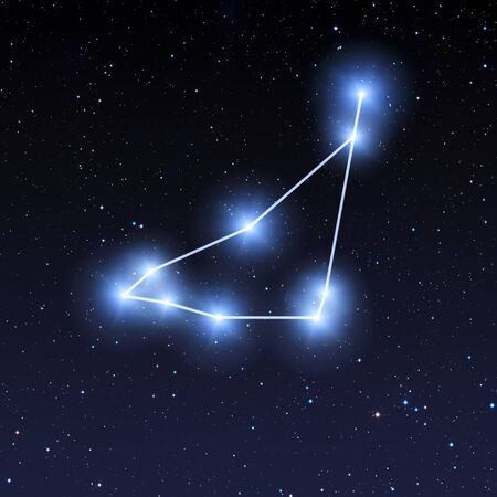 Capricorn constellation in night sky with bright blue stars