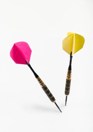 Dart arrows on white background. Competition concept Stok Fotoğraf