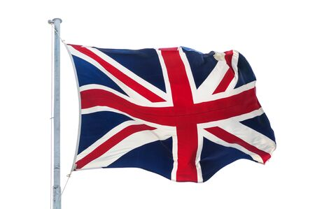 British UK flag on pole isolated white background