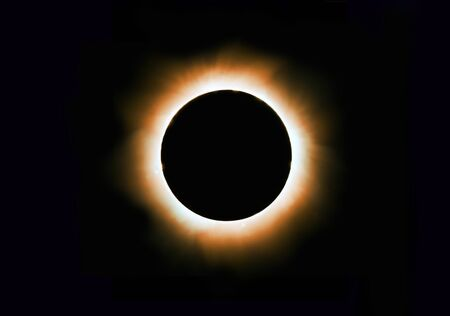 Solar corona full eclipse cosmic background with copy space