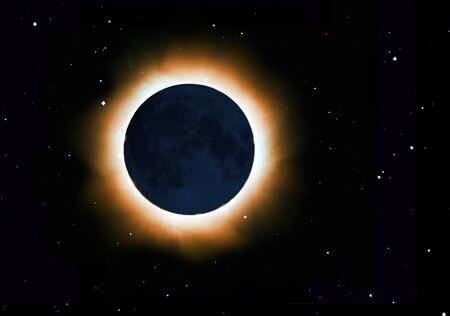 The solar corona of a total eclipse, weak light on the moon from reflection from the Earth. Starry sky