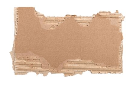 Cardboard piece with ripped edge for message. Isolated on white background Imagens
