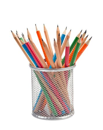 Pencils in metal basket isolated on white background Imagens