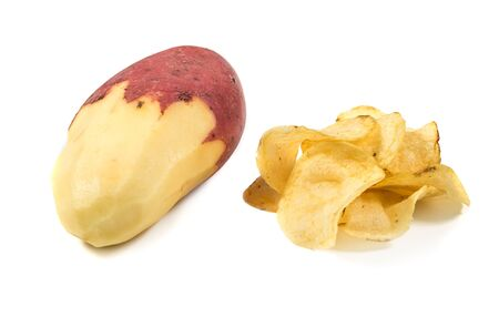 Potatoes chips and raw potato isolated on white. How made homemade chips