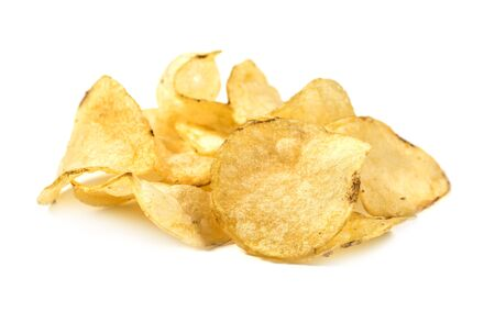 Potato chips close up view isolated on white background Imagens