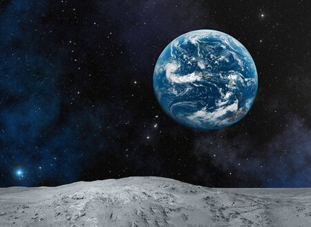 Planet Earth from Moon. Space wallpaper.