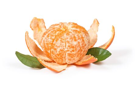 Peeled tangerine or mandarin fruit isolated on white background with clipping path