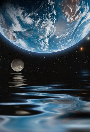 Planet and satellite in outer space with water surface reflection. Space wallpaper
