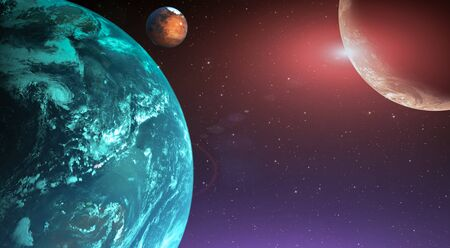Planet with satellite in deep space fantasy cosmic background. 3D Illustration.