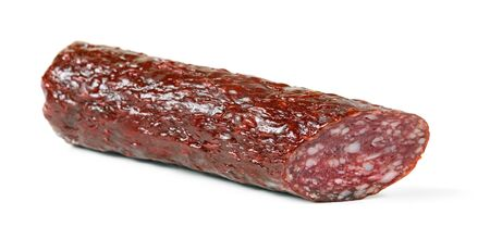 Salami smoked sausage stick isolated on white background