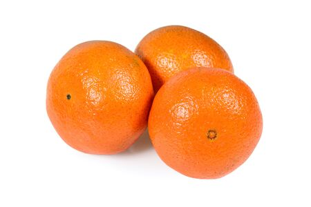 Tangerine or mandarin citrus fruit isolated on white background with clipping path