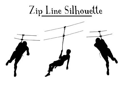 fila de personas: Zip Line Silueta