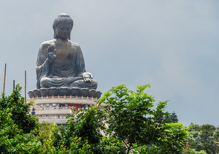 lantau: Big Buddha Po Lin Monastery. Lantau Island in hong kong .Background sky And Surrounded by green trees