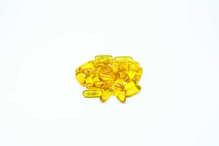 studio b: Cod liver oil  gel capsules isolated on white background