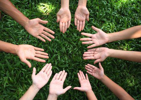 Multiculturele handen Stockfoto