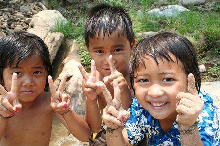 Portret van Aziatische kinderen. Stockfoto
