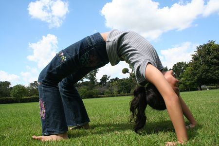 bendable: Active girl in the park. Stock Photo
