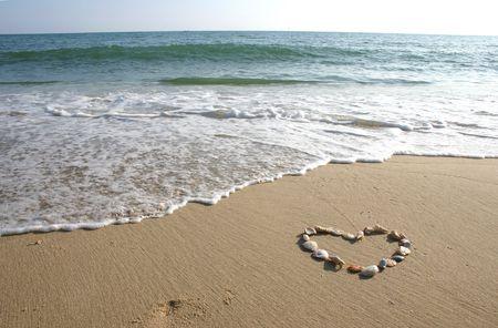 Schelpen in de vorm van een hart. Stockfoto