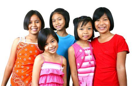 Five girls having good time