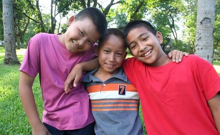 Three boys having good time  写真素材