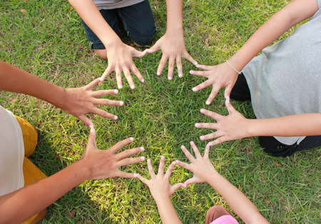 mujeres juntas: Manos Multiculturales con fondo de hierba verde.