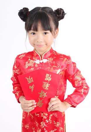 china chinese: Cute girl wearing red Chinese suit